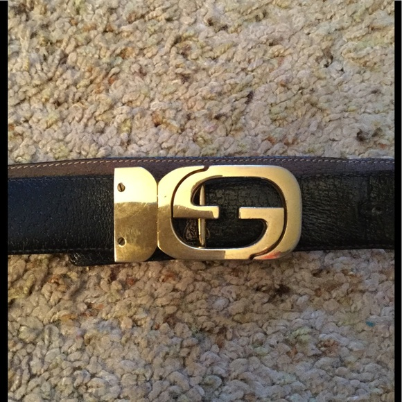 3d041493b Gucci Accessories | Double Gg Signature Logo Buckle Leather Belt ...